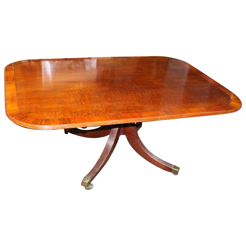 Fine Period Geo, III Sheraton Style Tilt Top Rectangular Dining or Bkfst. Table