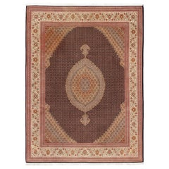 Fine Persian Tabriz-Mahi Rug with Oval Medallion and Swirling Floral Design