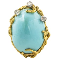 Fine Persian Turquoise Ring .30 Carat Diamonds 14 Karat Gold