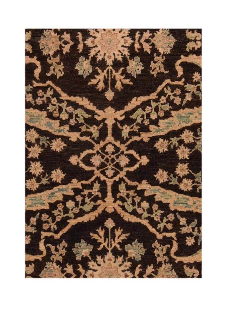 Fine Peshawar rug, hand knotted  Design: Floral, all-over  A Pakistani rug (Pak Persian Rug or Pakistani carpet) is a type of handmade floor-covering textile traditionally made in Pakistan.  The art of weaving developed in the region