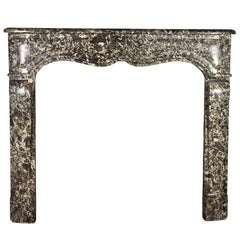 Fine Petite Small Grey Marble French Antique Fireplace Surround