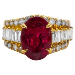 Fine Pink 3.75 Carat Tourmaline Ring with Diamond Setting