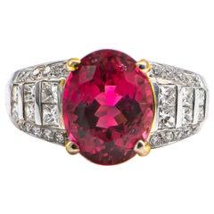 Fine Pink 5.08 Carat Tourmaline Ring with Diamonds .93 Carat
