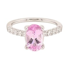 Diamond Pink Sapphire Ring 18k Gold 2.18 TCW Women Certified