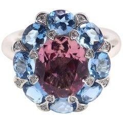 Fine Pink Tourmaline Diamond 18 Karat White Gold Ring