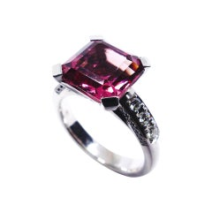 Leyser 18k White Gold Pink Tourmaline & Diamonds Ring