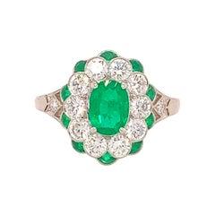 Fine Platinum Genuine Natural Emerald and Diamond Ring '#J4857'