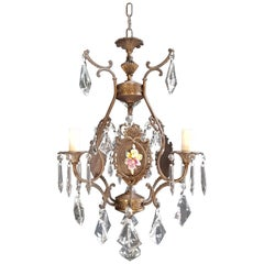 Fine Porcelain Cage Yellow Pink Crystal Chandelier Antique Ceiling Lamp Lustre