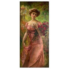 Fine Portrait of a Young Beauty Holding a Bouquet of Roses by Emile Vernon