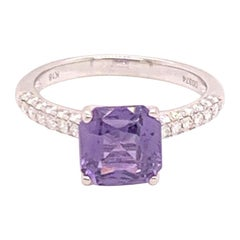 Fine Purple Sapphire and Diamond 18 Karat Ladies Ring 1.72 Carat Certified