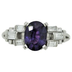 Fine Purple Sapphire Diamond Platinum Ring