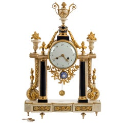 Fine Quality 18th Century French Marble and Ormolu Portico Clock