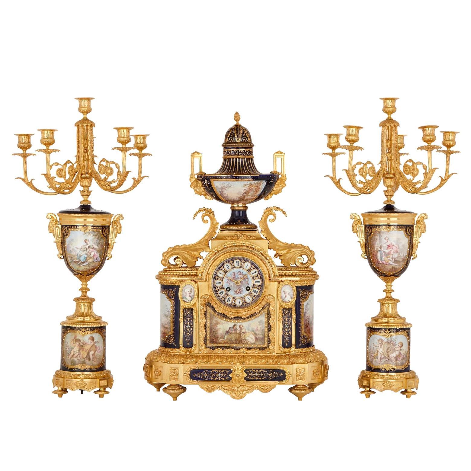 Fine Quality 19th Century Sevres Style Clock Garniture