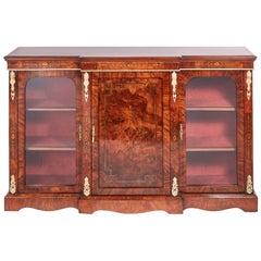 Fine Quality 19th Century Victorian Burr Walnut Inlaid Credenza