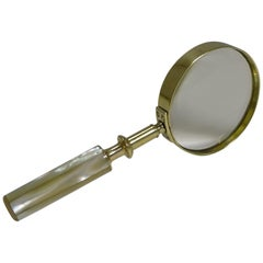 Fine Quality Antique English and Mother of Pearl Magnifying Glass, circa 1890