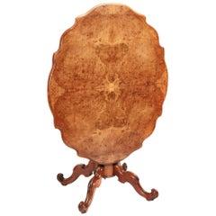 Fine Quality Antique Victorian Burr Walnut Tilt-Top Centre Table, circa 1850