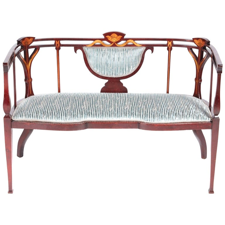 Fine Quality Antique Victorian Inlaid Mahogany Settee/Sofa For Sale