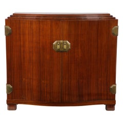Fine Quality Art Deco Walnut Two-Door Cabinet Attributed to Maison Dominique