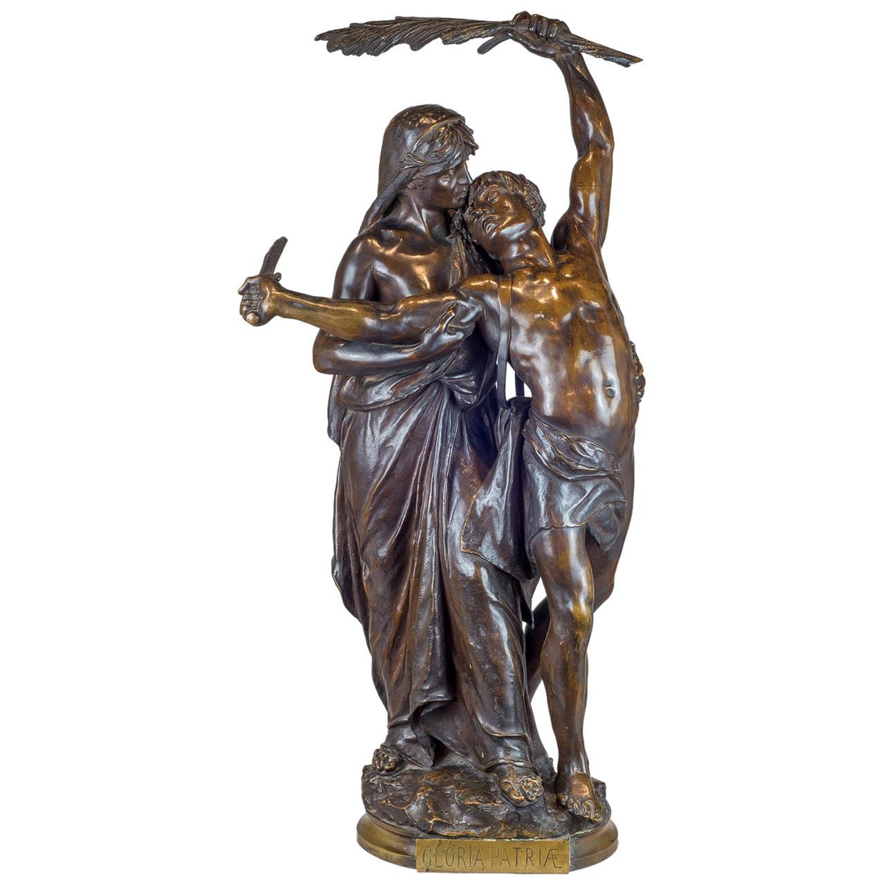 Fine Quality Bronze Group 'Gloria Patriae' by Eugene Marioton