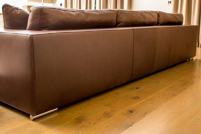 Outstanding Fine Quality Brown Leather Sofa By Rivolta Italy Bralicious Painted Fabric Chair Ideas Braliciousco