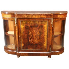 Fine Quality Burled Walnut Inlaid Vitrine Door Sideboard Buffet Credenza