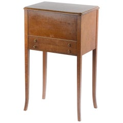 Fine Quality English Burr Maple Wood Veneered Sewing Table