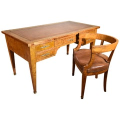 Fine Quality French Burr Elm Desk and Chair