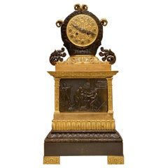 Fine Quality French Empire Patinated and Gilt Bronze Clock