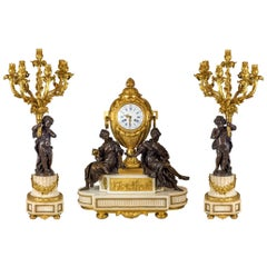 Fine Quality French Ormolu and White Marble Clock Set