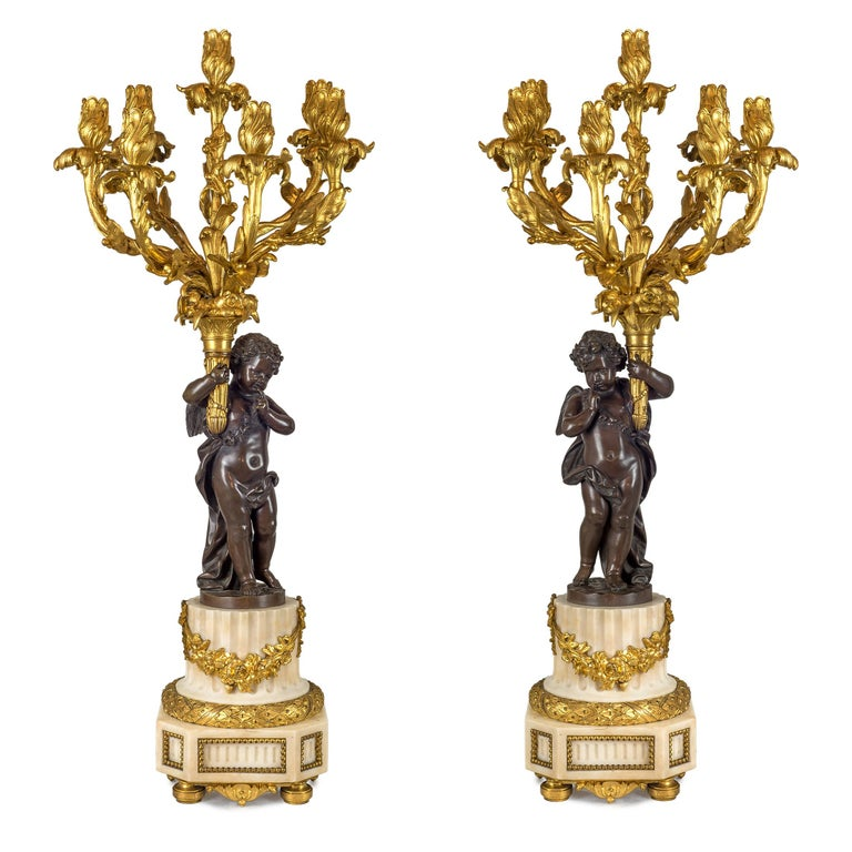 Fine Quality French Ormolu and White Marble Clock Set For Sale 4