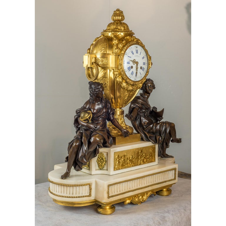 19th Century Fine Quality French Ormolu and White Marble Clock Set For Sale
