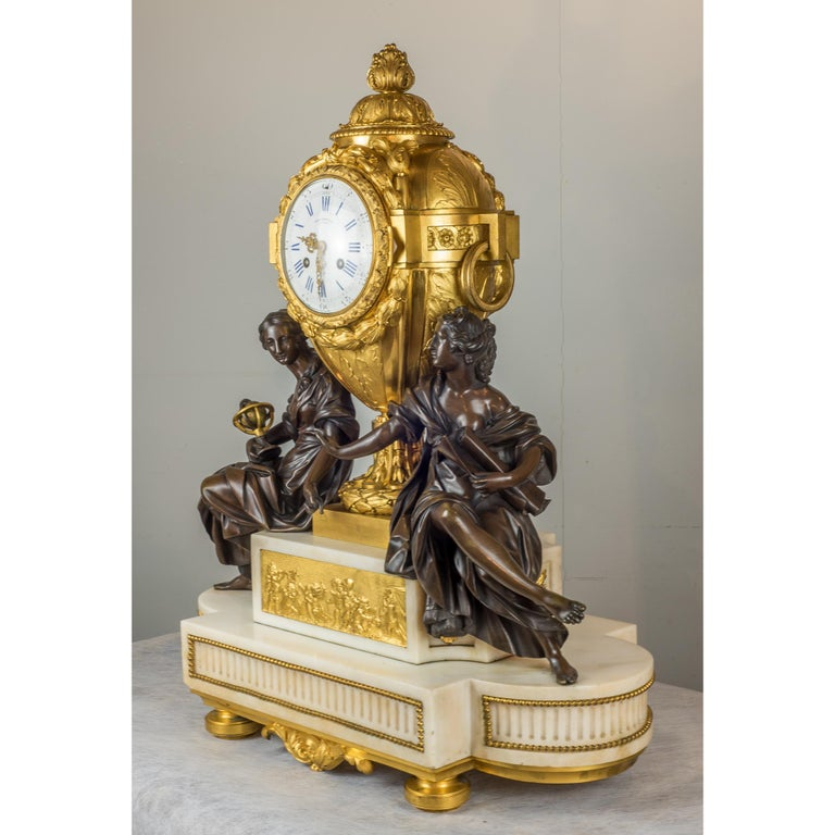 Bronze Fine Quality French Ormolu and White Marble Clock Set For Sale