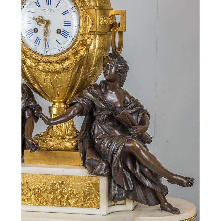Fine Quality French Ormolu and White Marble Clock Set For Sale 2