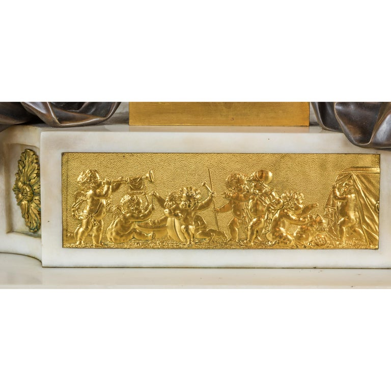 Fine Quality French Ormolu and White Marble Clock Set For Sale 3
