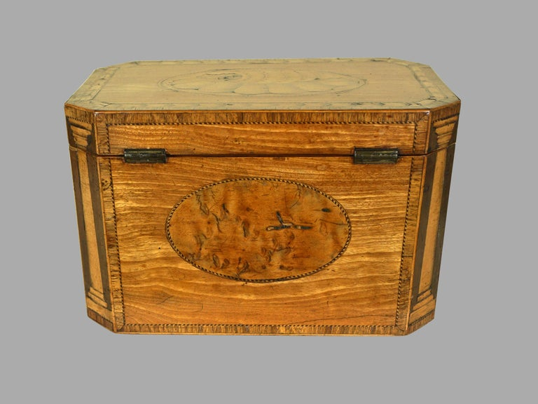 Georgian Fine Quality George III Inlaid Satinwood Tea Caddy