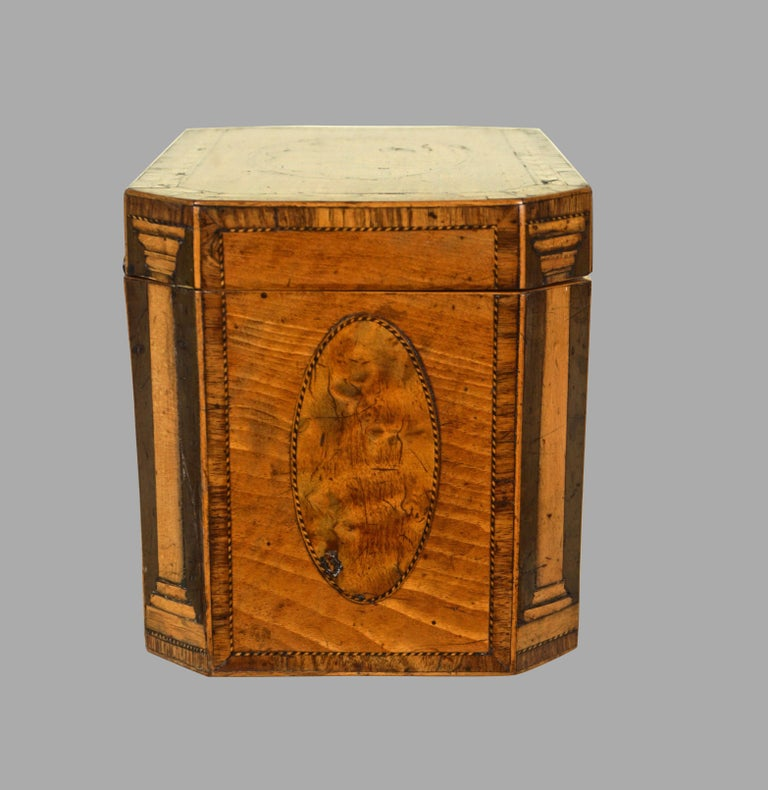 Fine Quality George III Inlaid Satinwood Tea Caddy In Good Condition In San Francisco, CA