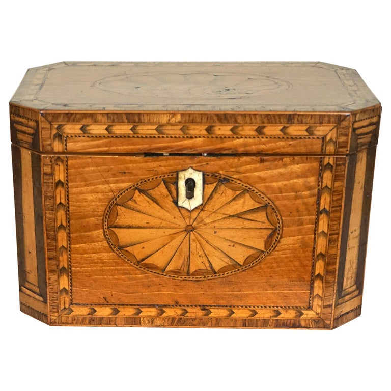Fine Quality George III Inlaid Satinwood Tea Caddy