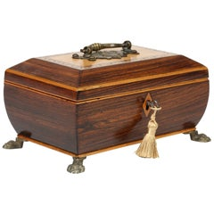 Fine Quality Georgian Inlaid Rose Wood Ladies Jewelry Casket