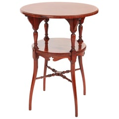 Fine Quality Inlaid Hardwood Two-Tier Occasional Table
