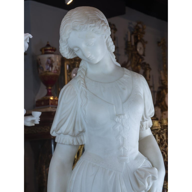 Fine Quality Italian Carrara Marble Statue of a Young Beauty For Sale 1