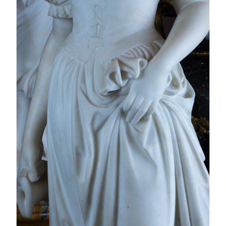 Fine Quality Italian Carrara Marble Statue of a Young Beauty For Sale 2