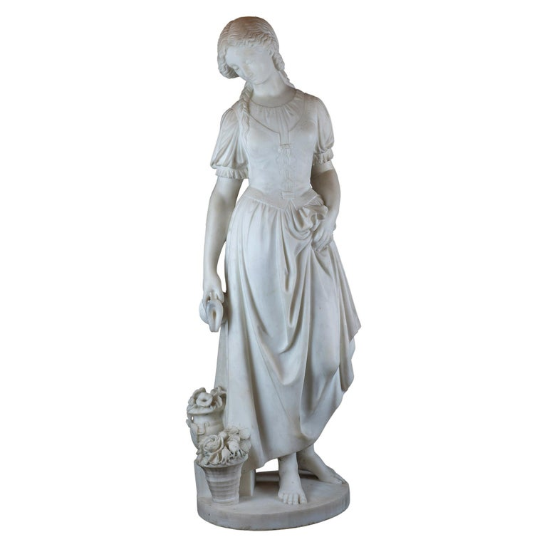 Fine Quality Italian Carrara Marble Statue of a Young Beauty For Sale