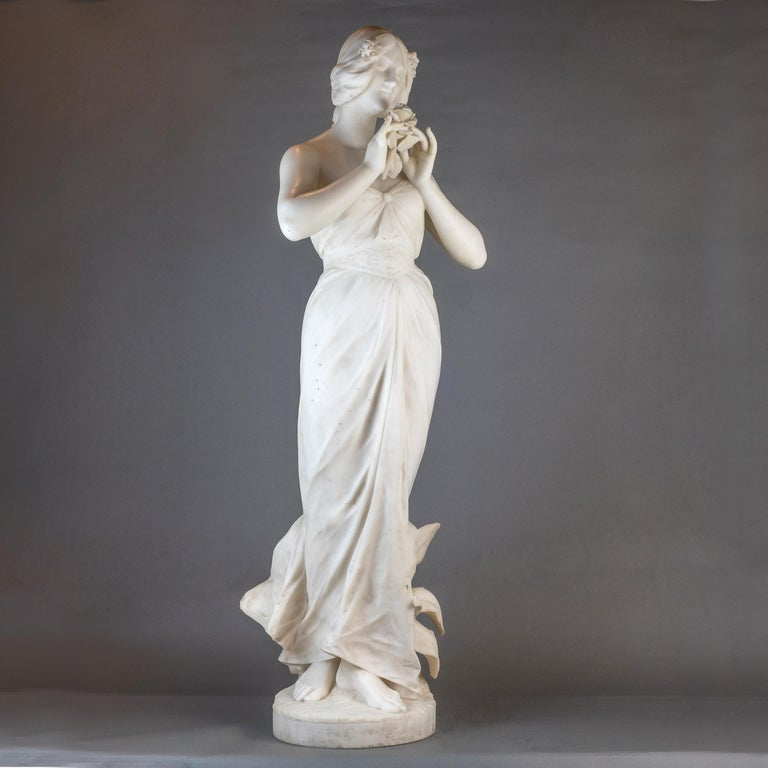 Fine quality Italian carrara marble statue of a young beauty holding a rose. Signed 'G. GAMBOGI, FIRENZE'  Maker: Giuseppe Gambogi (Italian, 1862-1938) Date: 19th century Dimension: 42 1/4 in. x 13 1/2 in. x 11 in.