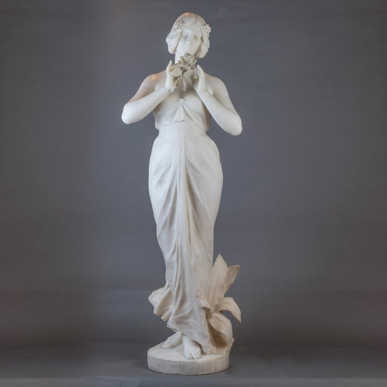 Italian  White Marble Statue Sculpture of a Beauty by Giuseppe Gambogi For Sale