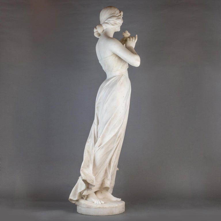 Carved  White Marble Statue Sculpture of a Beauty by Giuseppe Gambogi For Sale