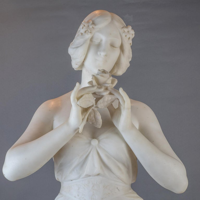 19th Century  White Marble Statue Sculpture of a Beauty by Giuseppe Gambogi For Sale