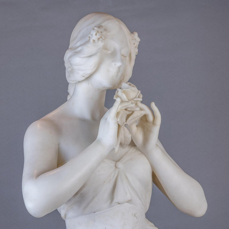 White Marble Statue Sculpture of a Beauty by Giuseppe Gambogi For Sale 1