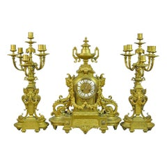 Fine Quality Large French Gilt Bronze French Clock Set