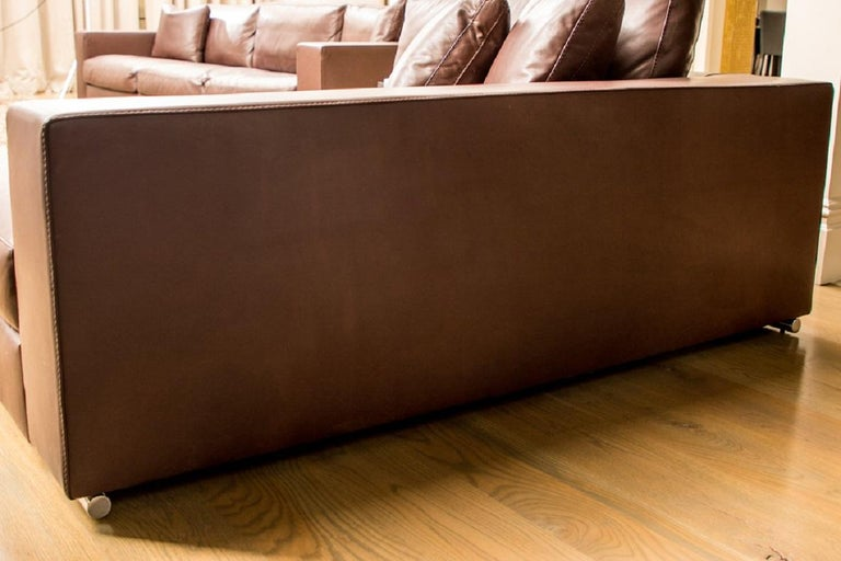 Mid-Century Modern Fine Quality Large Scale Brown Leather Lounge by Rivolta, Italy
