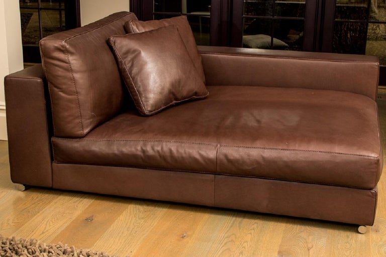 Italian Fine Quality Large Scale Brown Leather Lounge by Rivolta, Italy